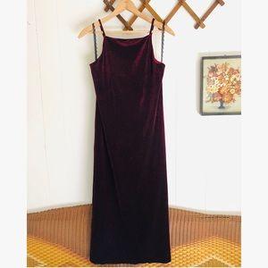 Iconic 90's Velvet Spaghetti Strap Maxi Dress